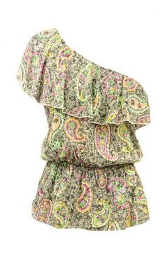 This One Shoulder Paisley Top is perfect for hot summer days! Wear it with skinny jeans and sandals - even go crazy and wear it with some trendy pastel jeans and strappy sandals! The one shoulder look is extremely trending right now.  The large ruffle over the bust gives this top a girly edge.  The cinched waist helps show off the figure.  We are loving this top for spring and summer!