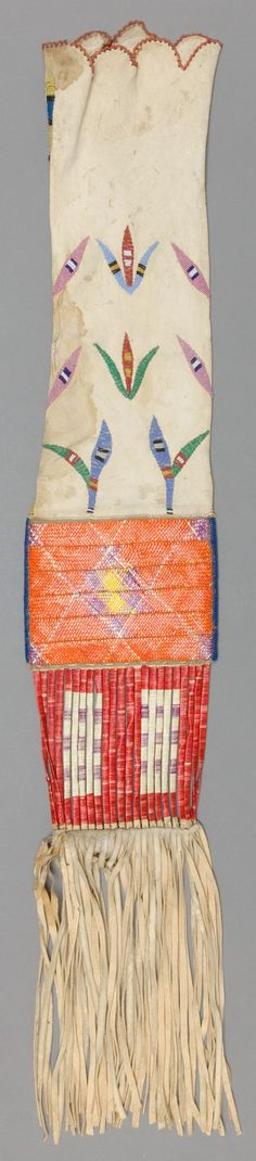 American Indian Art:Beadwork and Quillwork, A SIOUX BEADED AND QUILLED HIDE TOBACCO BAG. c. 1890... Image #1