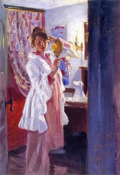 Interior with the Artist's Wife - Peder Severin Kroyer