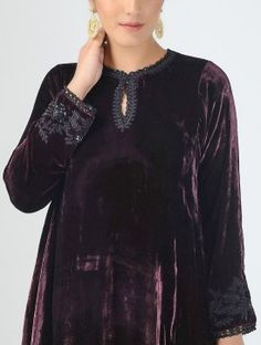 Purple Dabka-embroidered Silk Velvet Kurta with Crochet Sleeves Kurta Designs Women, Kurti Neck Designs, Salwar Designs, Indian Attire, Indian Outfits, Indian Clothes, Indian Dresses, Kurti Embroidery Design, Embroidery Suits