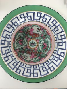 Entertaining table top dinnerware, Kate spade, Lenox china, vintage rose medallion by Parker Kennedy Color: pink green blue white