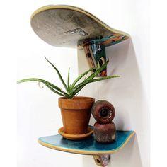 WallBlunt 8 x 10 inch Skateboard Wall Shelf - Single Shelf - Skateboard Shelf made from recycled broken skateboards by Deckstool - Wall Blunt Skateboard Wall Shelf by Skate Or Design. Cool accent shelf made from broken skateboar -