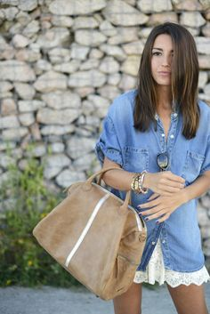 Outfit + Beauty Post  #Denim #Shirts & Blouses #Lace #Skirts #Leather #Totes