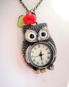 Owl Pocket Watch Necklace $18.50