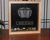 "Cherry wood Bottle Cap Shadow Box ""Cheers"""