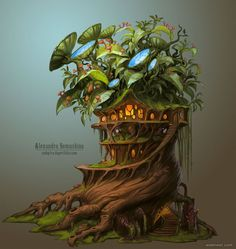 30 Beautiful Tree Drawings and creative Art Ideas from top artists - 26 drawing trees biotech house by sedeptra Environment Concept, Environment Design, Game Environment, Fantasy Kunst, Fantasy Art, Game Art, Art Environnemental, Fantasy House, Inspiration Art