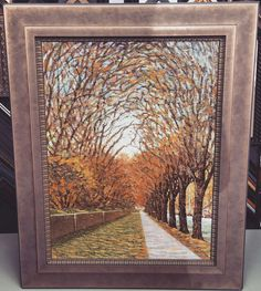 Fall is here! Check out this beautiful painting custom framed with @larsonjuhl's Foundry stacked on top of the Sympatico line! #art #pictureframing #customframing #denver #colorado #fall