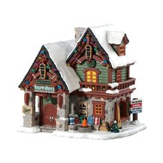 Lemax Village Collection Backwoods Snowshoe Rental Shop - House of Holiday Lemax Christmas Village, Village Lemax, Vail Village, Halloween Village, Christmas Villages, Christmas Events, Christmas Party Games, Outdoor Christmas Decorations, Villas