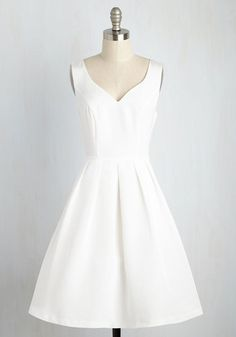 From This Sway Forward A-Line Dress in White | Mod Retro Vintage Dresses | ModCloth.com