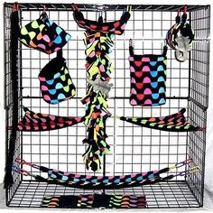 Chained Neon Halves * 15 piece Sugar Glider Cage set * Rat * double layer Fleece - http://pets.goshoppins.com/small-animal-supplies/chained-neon-halves-15-piece-sugar-glider-cage-set-rat-double-layer-fleece/