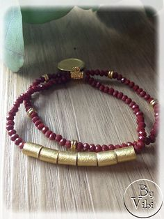 Bracelet cristal rouge et vermeil par ByVibi sur Etsy