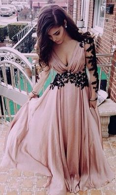 L151 Long Sleeve Black Lace Deep V Neck Chiffon Floor-Length Evening Dresses, Pink Party Dresses