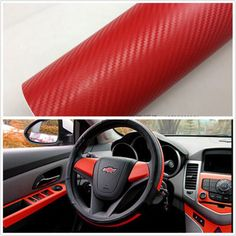 Car-SUV-Interior-Accessories-Interior-Panel-Red-Carbon-Fiber-Vinyl-Wrap-Sticker