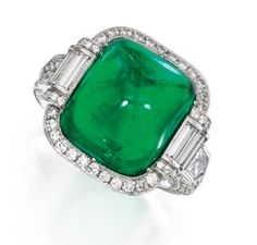 Platinum, Emerald and Diamond Ring - Sotheby's