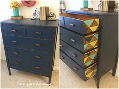 We LOVE a peek-a-boo pattern on furniture. Furniture Alchemy painted our Triad stencil on this rustic meets modern dresser. Buy the pattern: http://www.cuttingedgestencils.com/triad-pattern-stencils-for-diy-home-decor.html?utm_source=JCG&utm_medium=Pinterest&utm_campaign=Triad%20Allover%20Stencil