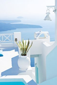 santorini in blue