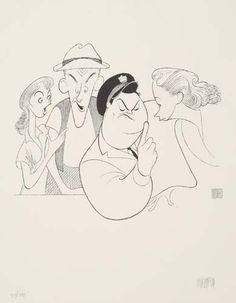 """The Honeymooners"" ~ Al Hirschfeld Funny Caricatures, Celebrity Caricatures, Art Carney, Caricature Artist, Art Students League, Cute Stars, Classic Comics, Black And White Portraits, Comic Artist"