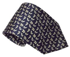 Brooks Brothers Silk Necktie Small Flowers Floral Blue 60 by 3.75 Inches Classic #BrooksBrothers #NeckTie