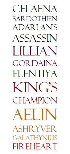 Celeana Sardothien Adarlan's Assassin Lillian Gordiana Elentiya King's Champion Aelin Ashryver Galathynius Fireheart