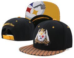 Mens Pittsburgh Steelers Mitchell   Ness NFL 2016 Custom Print Vize Hands  Logo Novelty Sports Fashion Snapback Cap - Black   Gold d61efe3b8