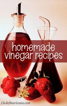 How to make DIY vinegar: Recipes for 16 flavored homemade vinegars, including raspberry, strawberry, tarragon & celery - Click Americana Raspberry Vinegar Recipes, Red Wine Vinegar Recipes, Strawberry Vinegar, Red Vinegar, Tarragon Vinegar, Vinegar Uses, Homemade Vinegar Recipe, Apple Cider Vinegar Douche, How To Make Vinegar