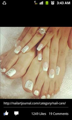 White, diamond french manicure nails and toes. Beautiful for a wedding.