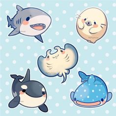 Best Ideas for cute animal art doodles life Cute Animal Drawings, Kawaii Drawings, Cute Drawings, Animals Watercolor, Cute Shark, Cute Doodles, Cute Friends, Cute Creatures, Drawing Sea Creatures