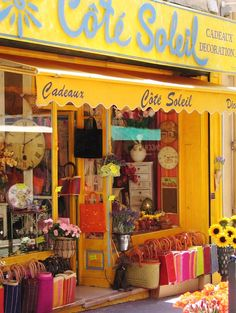 #Gift shop with bright south French colors, France