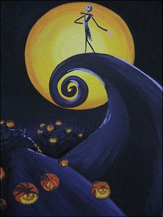 'The Nightmare before Christmas' by lins. Fan art, acrylics on canvas Halloween Canvas Paintings, Cute Canvas Paintings, Halloween Painting, Canvas Art, Halloween Prop, Nightmare Before Christmas Pictures, Nightmare Before Christmas Wallpaper, Nightmare Before Christmas Tattoo, Disney Kunst