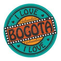 Sello color Grunge con texto que me encanta Bogotá dentro Ilustración De Stock Grunge, Skyline Silhouette, Stickers, Wallpaper, Illustration, My Love, Super Junior, Silk, Disney