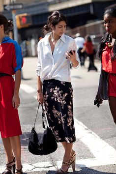 White shirt and pencil skirt.