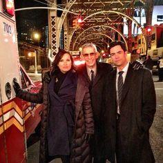 Mariska Hargitay, Richard Belzer, and Danny Pino on location.