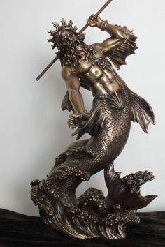 poseidon,bronziert,29x16cm,figur,statue,polyresin,gott,meeresgott,veronese