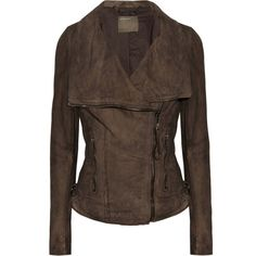 Muubaa Juana leather biker jacket ($270) ❤ liked on Polyvore featuring outerwear, jackets, brown, zipper jacket, brown moto jacket, leather biker jacket, motorcycle jacket and genuine leather jacket