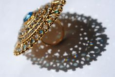 Beautiful Large Kundan Ring with Blue and White Stones