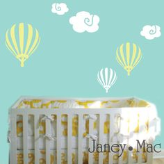 Childrens Hot Air Balloon Wall Decal with Clouds - Whimsical Kid's Bedroom Nursery - Vinyl Wall Art Sticker Room Decor - CN102