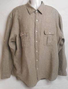J.CREW Men's 100% Linen Brown Size XL Button-Front Long Sleeve Shirt