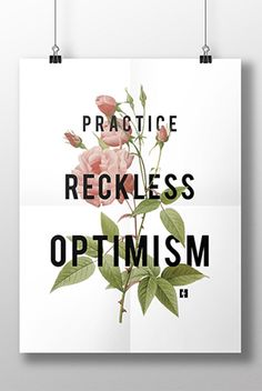 Reckless Optimism White Floral Poster-from Hannah Hart via District Lines