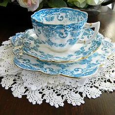 Turquoise Floral Trio, antique star china fairy shape, c1911, Star China Co.