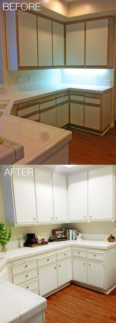 Easy and Affordable Kitchen Makeover - Update 80s laminate cabinets and change the look of your kitchen for about $100.