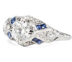 Scintillating 1.01 ct Diamond Art Deco Ring - The Three Graces