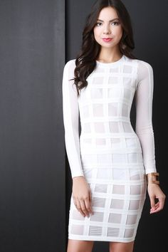 Grid Mesh Long Sleeve Bodycon Dress