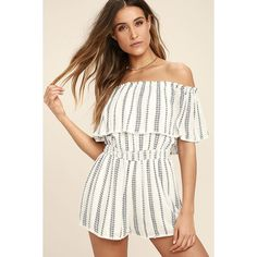 See Ya There White Print Off-the-Shoulder Romper ($39) ❤ liked on Polyvore featuring jumpsuits, rompers, white, off the shoulder romper, white off the shoulder romper, long-sleeve rompers, white rompers and patterned romper