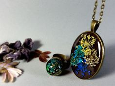 Multicolor dried flowers pendant  Blue flower by ByEmilyRay