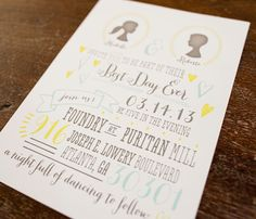 Wedding Invitation- Whimsical Vintage // Silhouette // Blue, Yellow and Gray // Heart // Arrow