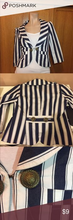 Blue and White Striped Blazer Forever 21 casual Blazer great for Spring. Looks nice with white pants/skirt. I bought it from the FIDM Scholarship store, that is why it's missing the tag. The stitching from the inner lining was pulled apart in the middle (please see picture). There is a minor stain (see picture). I bought it as is for $15. Please ask questions before buying.                                        Size: XS --> true to size. Forever 21 Jackets & Coats Blazers