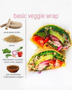 We love an easy plant based lunch! This vegan veggie wrap is perfect and it won't disappoint. This recipe only requires a few ingredients! A whole wheat wrap, quinoa, vegetables and your favourite dressing! If you would like more recipes like this one tha Whole Foods, Whole Food Recipes, Healthy Recipes, Vegan Lunch Recipes, Recipes Dinner, Vegan Meal Plans, Healthy Meal Prep, Healthy Protein, Dinner Healthy