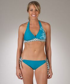 Next Teal Halter Bikini Top and Tunnel Side Swimwear Bottom