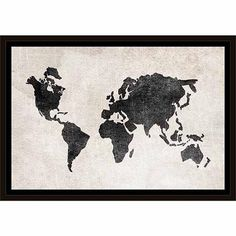 Distressed Vintage Travel Old World Map Linen Texture Black & White, Framed Canvas Art by Pied Piper Creative - Walmart.com