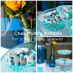 Chex Muddy Buddies Recipe for a Baby Shower (Pink & Blue) (birthday food ideas pink) Baby Shower Snacks, Baby Shower Favors, Baby Boy Shower, Chex Muddy Buddies, Muddy Buddies Recipe, Baby Boy Birthday, Blue Birthday, Baby Boy Scrapbook, Baby Boy Pictures